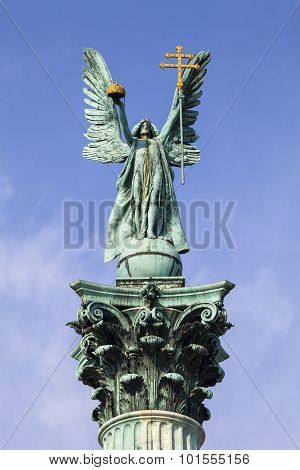 Archangel Gabriel Statue On The Heroes Square Column In Budapest.