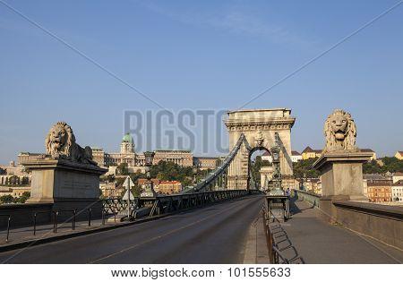 Chain Bridge And Buda Castle In Budapest