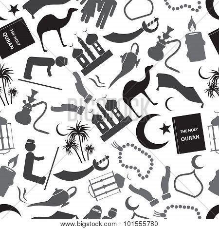 Islamic Religion Simple Gray Icons Seamless Pattern Eps10
