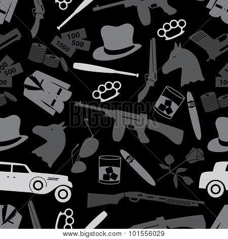 Mafia Criminal Black Symbols And Icons Seamless Pattern Eps10
