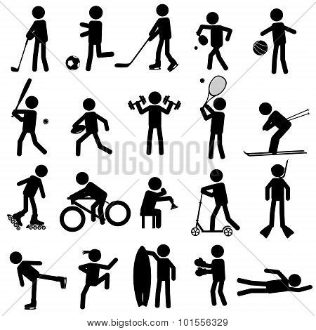 Sport Silhouettes Black Simple Icons Set Eps10