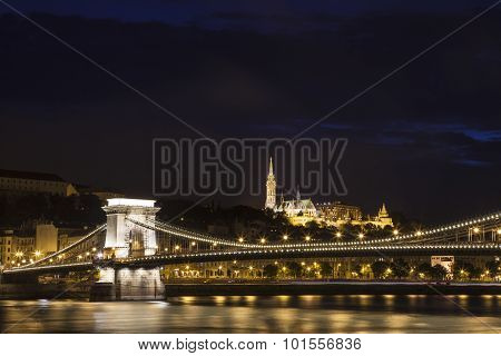 Chain Bridge With St Matthias Church And The Fisherman's Bastion