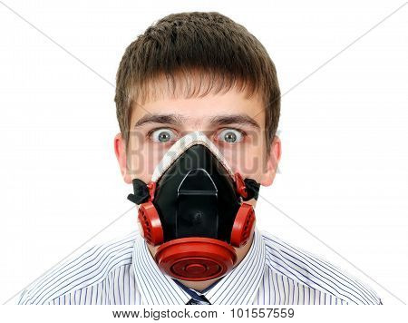 Surprised Man In Gas Mask