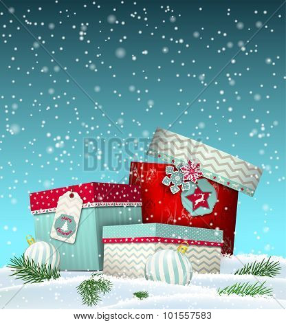 Cristmas greeting card with giftbox in snowdrift, winter theme, illustration