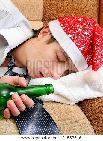 Man In Santa Hat Sleeping