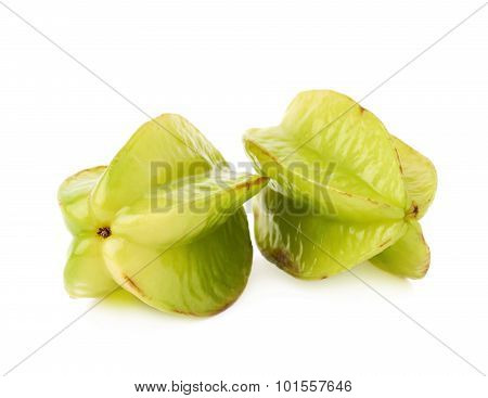 Two averrhoa carambola starfruits isolated