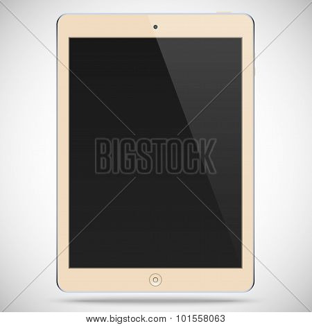 Realistic Detailed Biege Tablet With A Black Touch Screen Isolated On A Gray Background
