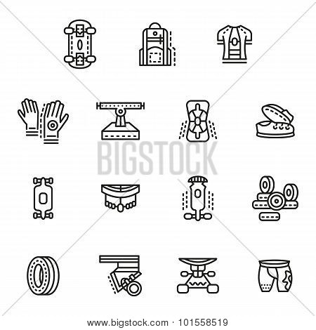Accessories for longboards line vector icons set