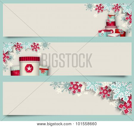 Three christmas banners with giftboxes and snowflakes, illustration