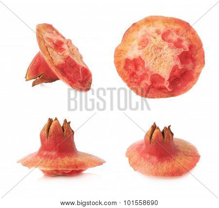 Pomegranate skin's top isolated