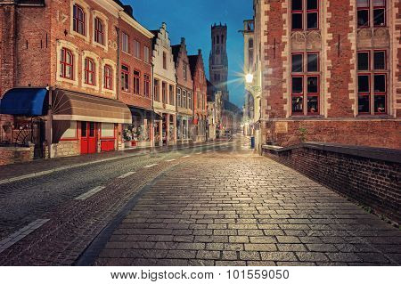 Bruges historical center street at night