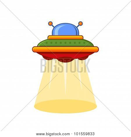 Cartoon Style UFO Vector Icon