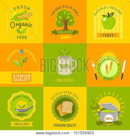 Natural food emblems flat icons set