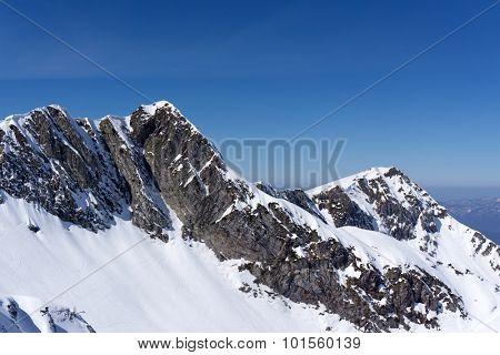 Mountain winter landscape of Krasnaya Polyana, Sochi, Russia