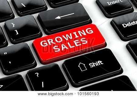 Finance Concept: Growing Sales On Computer Keyboard Background