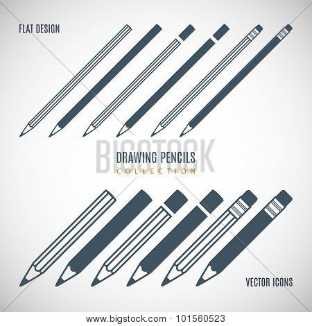 Set Pencils Icons In The Style Flat Design Isolated On Gray Background. Stock Vector Illustration