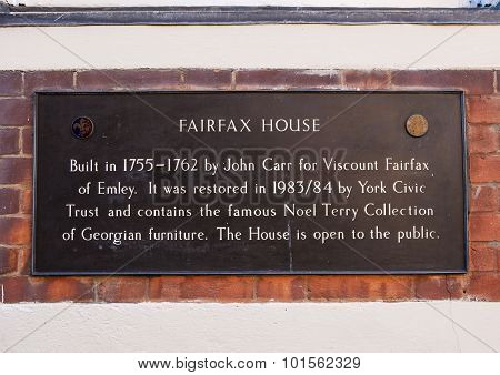 Fairfax House Plaque In York
