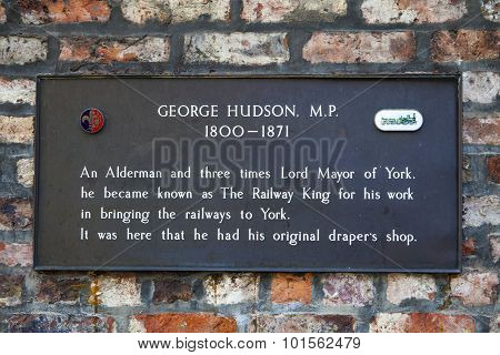 George Hudson Plaque In York