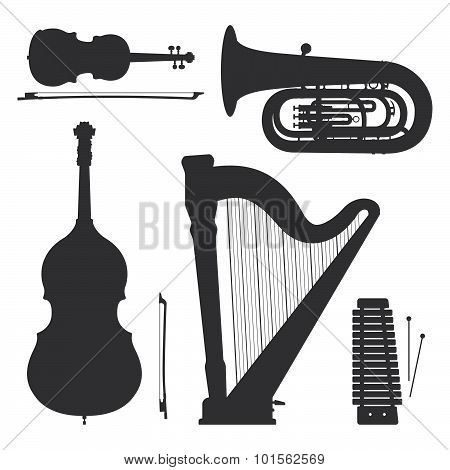 Monochrome Music Instruments Silhouettes Illustration Collection.