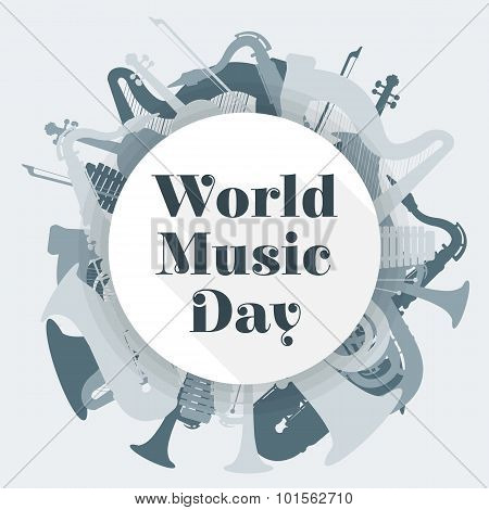 Abstract Light Colored International Music Day Poster Illustration.