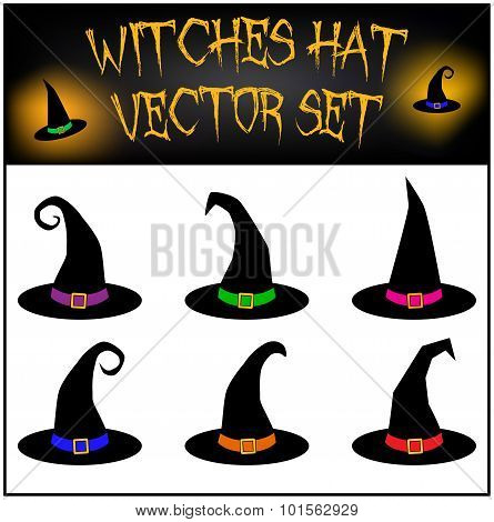 Vector set of Halloween witches hat silhouette. Illustration isolated on white background