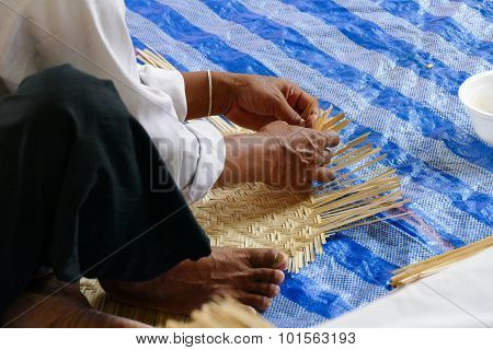 Artisan Is Making Rattan Basketry Handcraft
