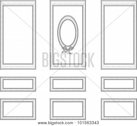 Decorative frames for walls or backgrounds. Interior design decoration panels. Wainscoting Vector