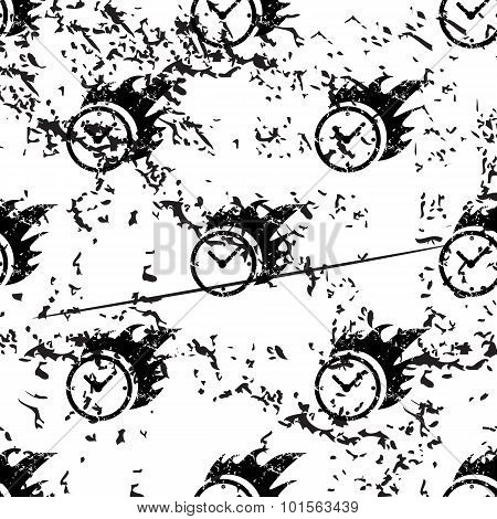 Burning clock pattern, grunge, monochrome
