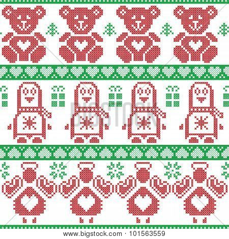 PenguiRed and green Scandinavian vintage Christmas  Nordic seamless pattern with penguin, angel, ted