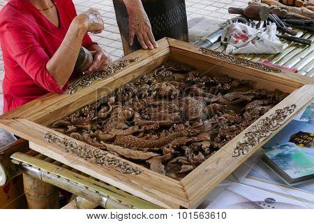 Artisan Is Carving Wooden Sculpture Art
