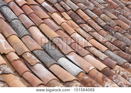 Old Clay Tile Roof Detail In Horizontal Format
