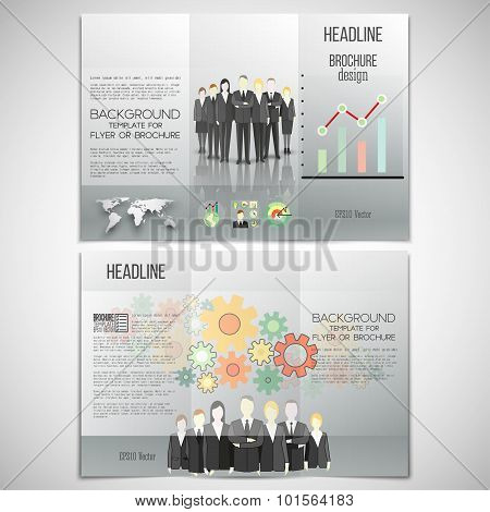 Vector set of tri-fold brochure design template on both sides. Professional business team standing o
