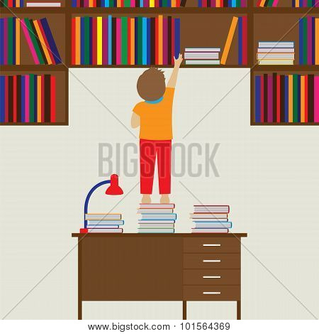 Child And Books. Reading, Education, Knowledge, Learning  Concept.