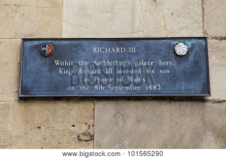 Richard Iii Plaque In York