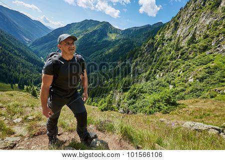 Hiker Man On Mountain Trail