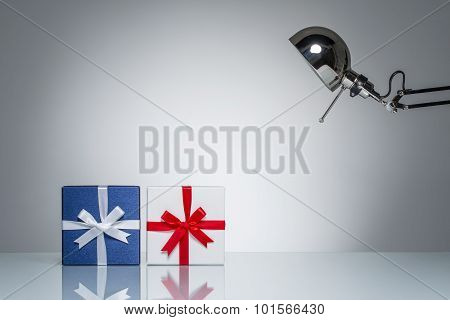 Lighting Up Gift Box Present With Desk Lamp