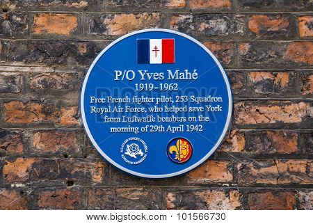 Yves Mahe Blue Plaque In York