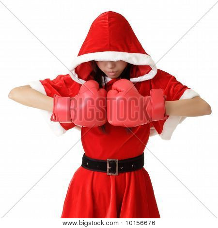 Christmas Girl With Boxing Gloves