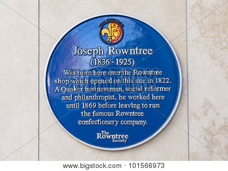 Joseph Rowntree Blue Plaque In York