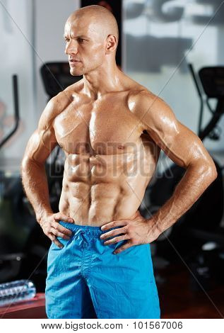 Six Packs Athlete In A Gym