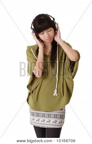 Young Lady Listening Music