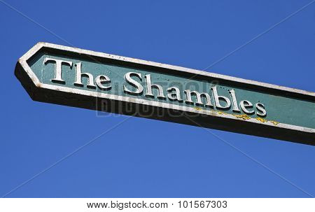Signpost For The Shambles In York