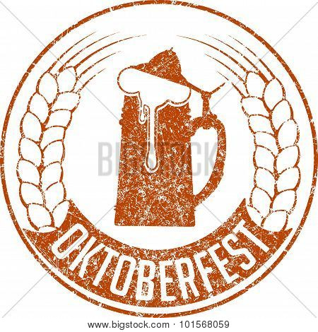 Grunge Style Rubber Stamp With  Beer Glass, Ears Of Barley And Caption Oktoberfest