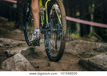 young athlete mountain bike uphill stones