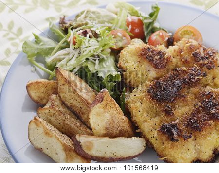 Parmesan-Crusted Chicken with Potatoes and Salad
