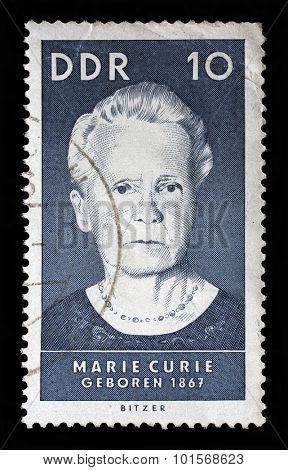 GDR - CIRCA 1967: A stamp printed by GDR , shows Marie Sklodowska Curie, circa 1967.