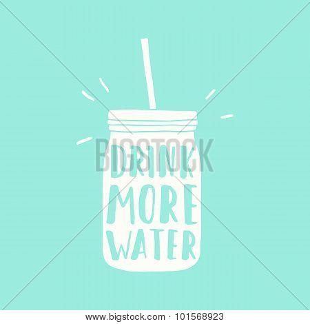 Drink more water. Jar silhouette