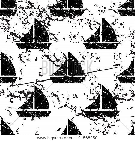 Sailing ship pattern, grunge, monochrome