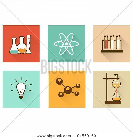 Scientific laboratory flat icons with chemistry test-tubes and flasks