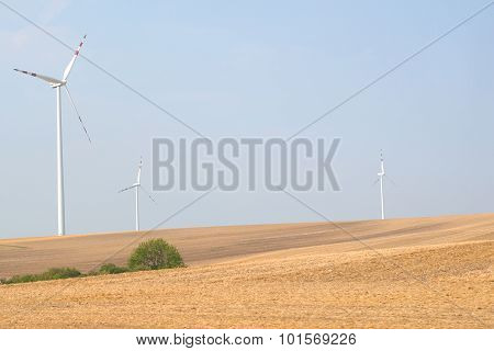 Landscape with wind power stations